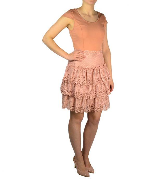 Платье Silvian Heach персикового цвета с кружевной вышивкой