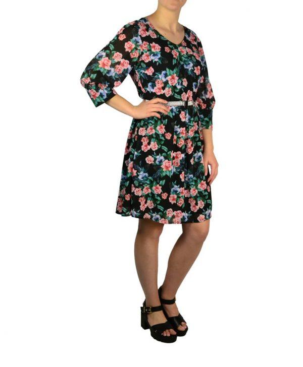 Платье Silvian Heach черное с цветочным принтом и серебристым поясом