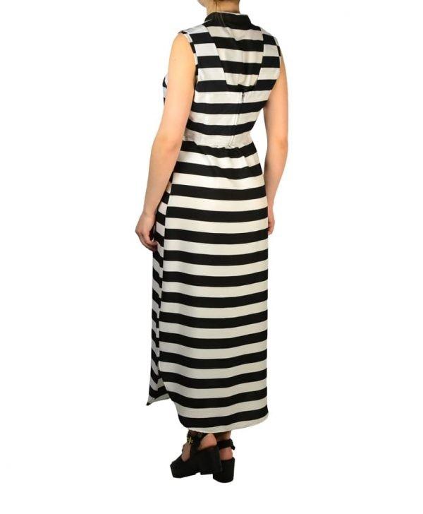 Платье Silvian Heach черно-белое в полоску на пуговицах