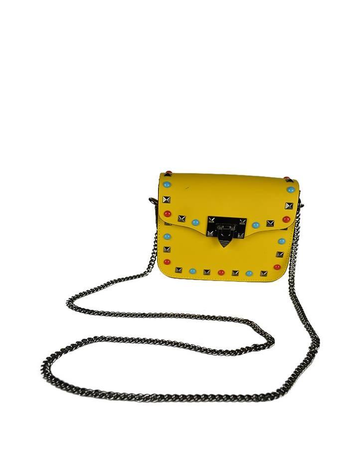 0fc11f7148d6 Сумка Mela D'oro желтая с цветными клёпками - цена 7650 рублей, арт ...