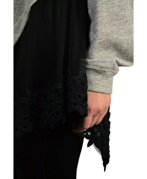 Толстовка Imperial серая с черной вышивкой на сетке