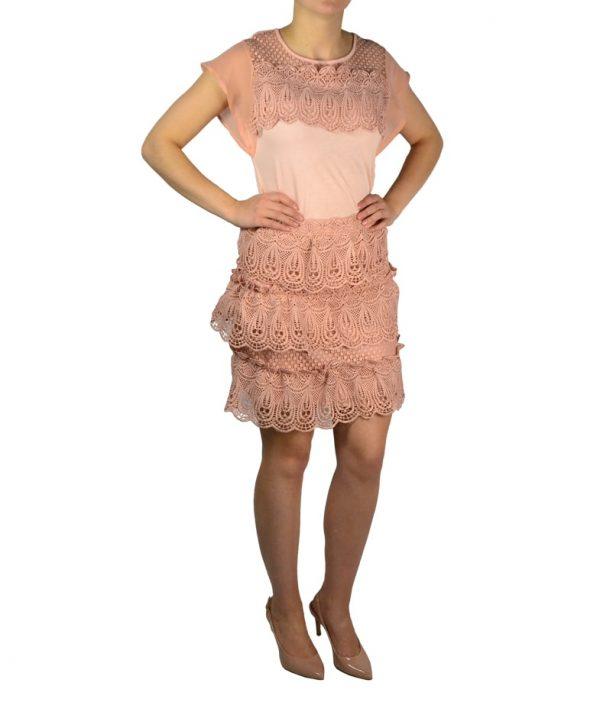Юбка Silvian Heach персикового цвета с кружевной вышивкой