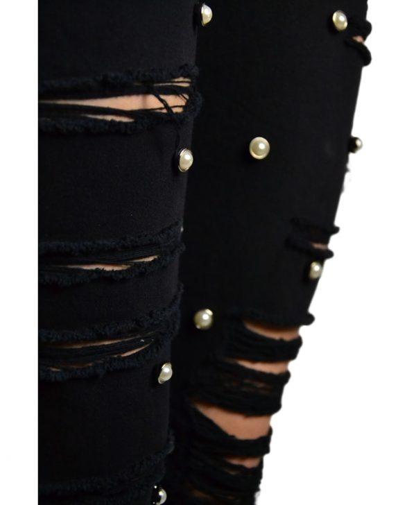 Джинсы Amy Gee черные рваные с жемчугом