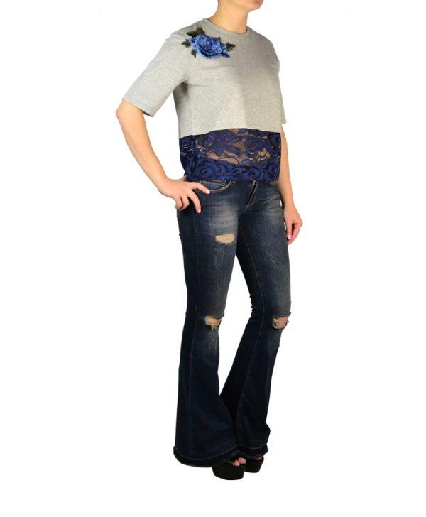 Джинсы Silvian Heach темно-синие клешеные рваные