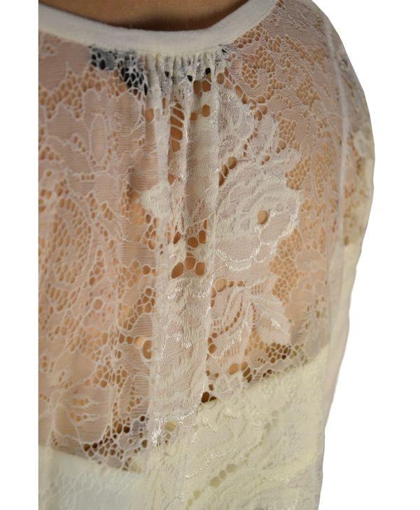 Кофта Silvian Heach молочного цвета с гипюровой спинкой