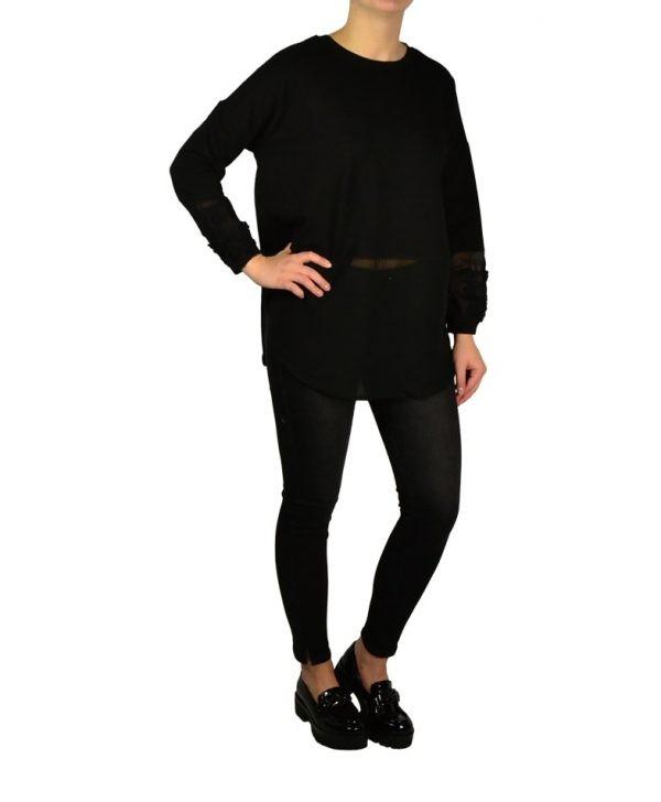 Кофта Silvian Heach черная с вышивкой на рукавах
