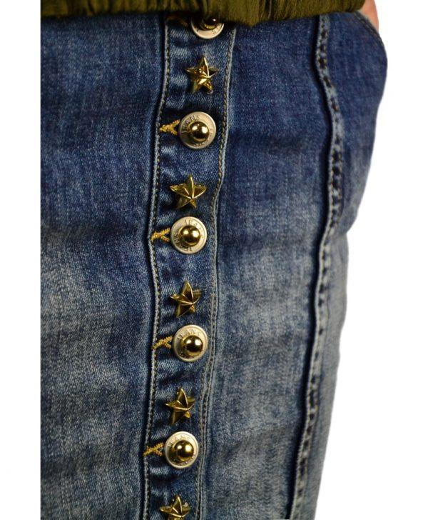 Юбка Mary D'aloia синяя джинсовая с необработаным низом