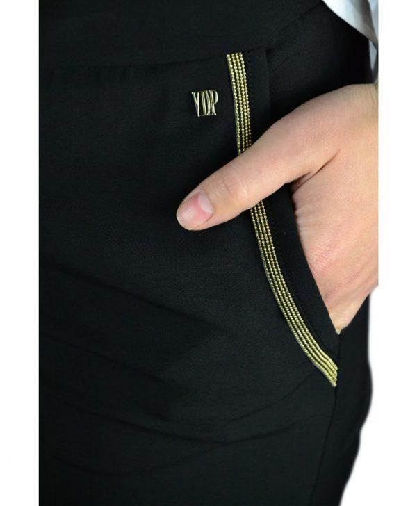 Брюки VDP черные классические с золотой металлической отделкой на карманах