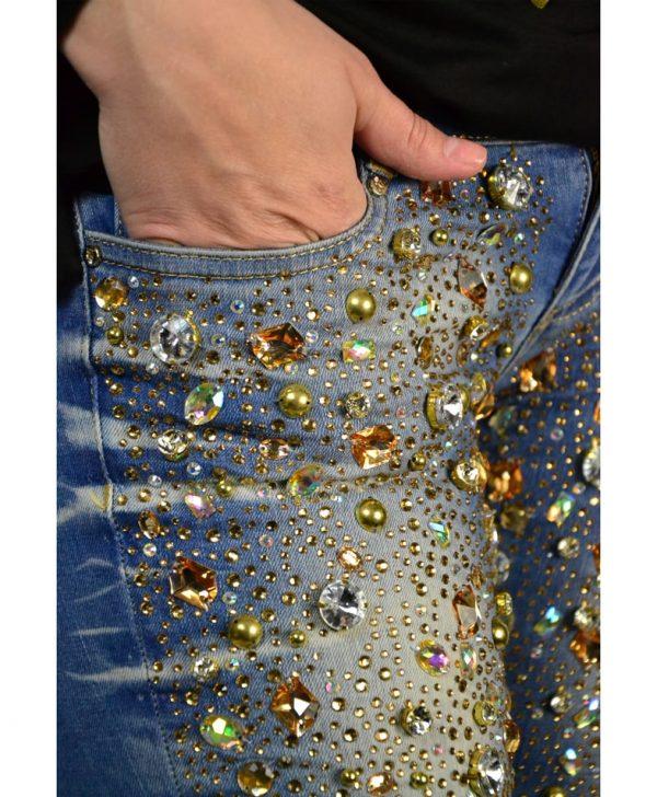 Джинсы Mary C голубые с россыпью камней