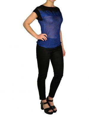 Кофта Marani G. синяя вязка комбинированная с черным шелком