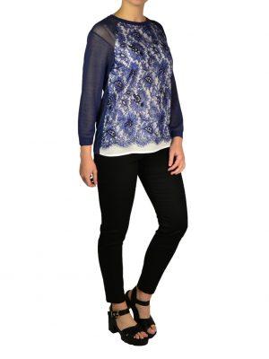 Кофта Petite Couture синяя с кружевом