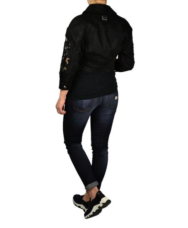 Куртка Philipp Plein черная джинсовая с вышивкой и камнями