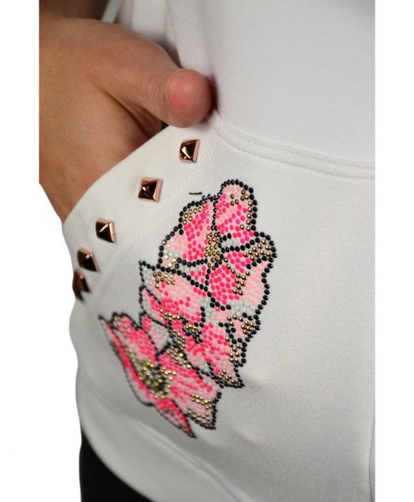 Мастерка VDP белая комбинированная шелком с цветочным принтом и камнями