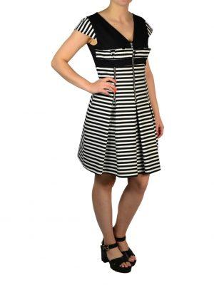 Платье Eureka черное комбинированное с черно-белой полоской