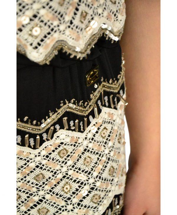 Платье Roberto Cavalli черное с белой вышивкой и бисером