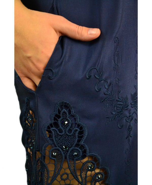 Платье VDP синее с вышивкой и камнями