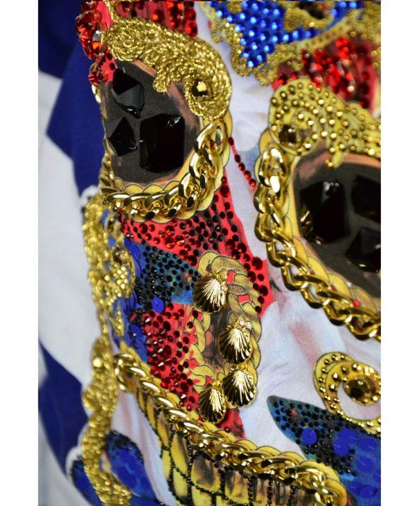 Туника Philipp Plein бело-синяя в полоску с камнями и декоративными элементами