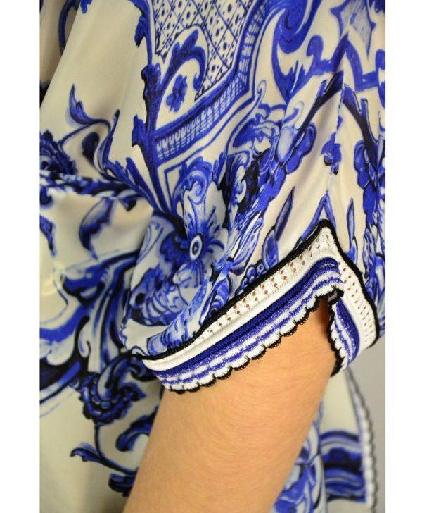 Туника Roberto Cavalli белая комбинированная шелком с принтом и поясом