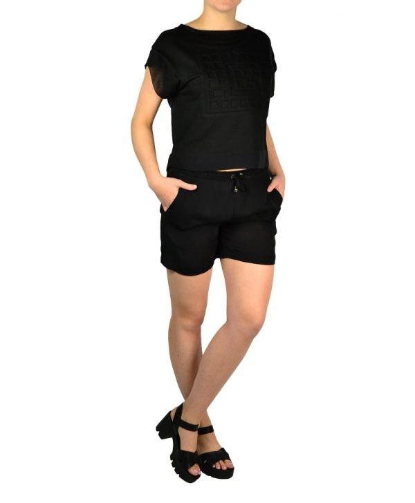 Шорты Versace черные на резинке с завязкой