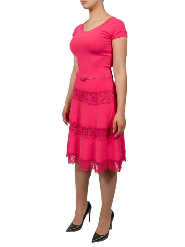 Платье VDP розовое с кружевом и камнями