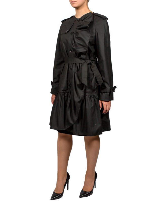 Плащ Boutique Moschino черный с рюшами