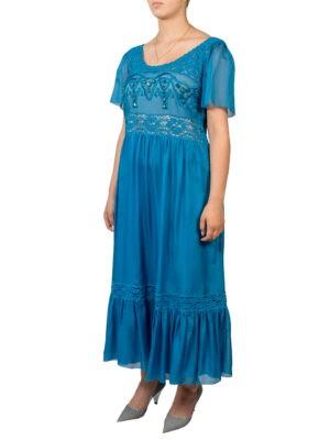 Платье Alberta Ferretti голубое с кружевом камнями и вышивкой