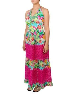 Сарафан VDP с цветочным принтом кружевной вышивкой и камнями