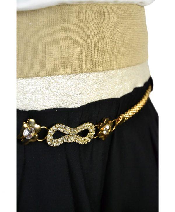 Брюки Mary C черные с золотым поясом