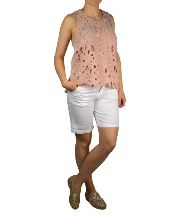 Майка Kayla пудрового цвета с вышивкой