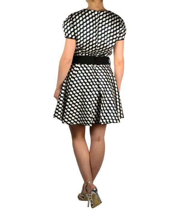 Платье Eureka черно-белое в горох с поясом