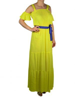 Платье Maryley желтое с синим поясом