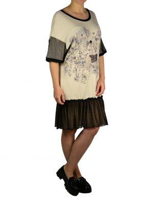 Туника Petite Couture бежевая с черной сеткой и принтом
