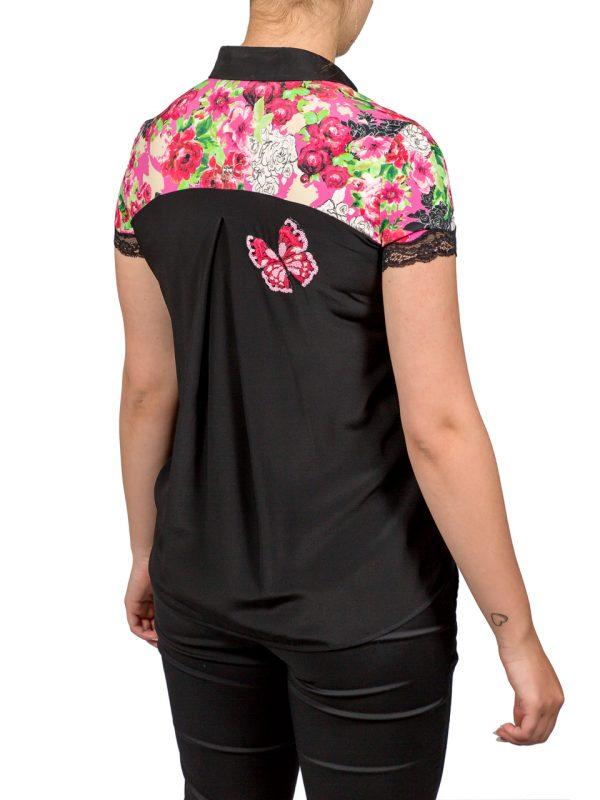 Блуза VDP черная с цветочным принтом и вышивкой из пайеток