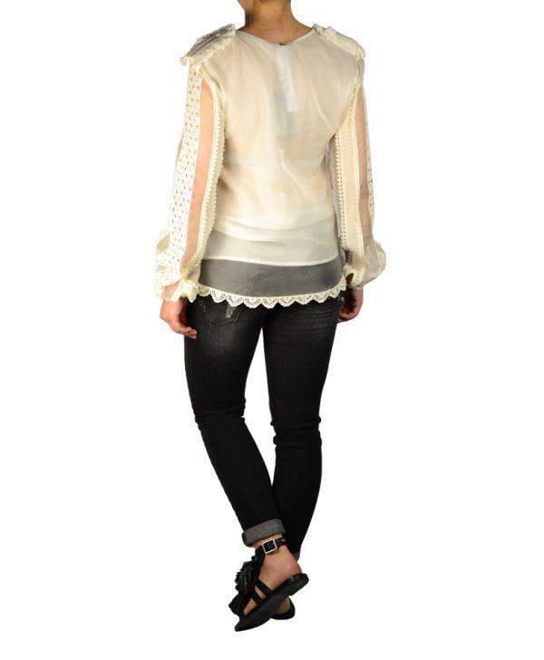 Блуза Twin-Set белая с погонами и кружевом