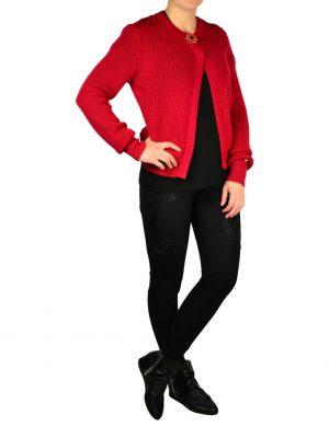 Кофта Maria Grazia Severi (22 Maggio) красная вязаная с кружевной вышивкой и брошью