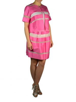 Пиджак Petite Couture розовый в широкую полоску с камнями