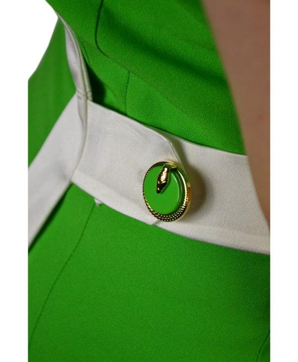Платье Class Roberto Cavalli зеленое с белыми элементами