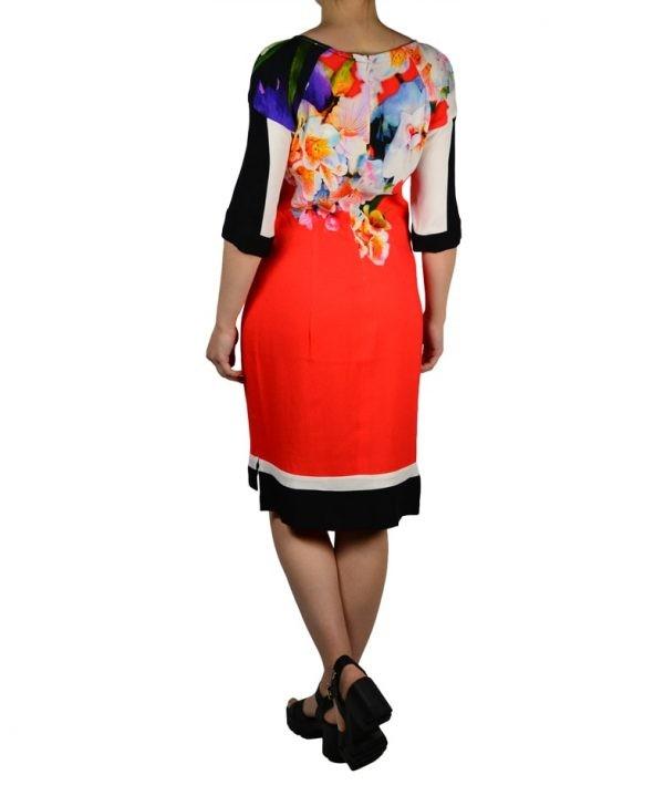 Платье Class Roberto Cavalli коралловое  с цветочным принтом