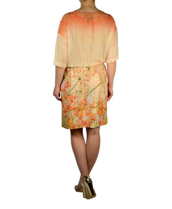 Платье Class Roberto Cavalli молочное с цветочным принтом