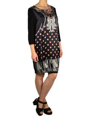 Платье Didier Parakian черное с принтом и камнями