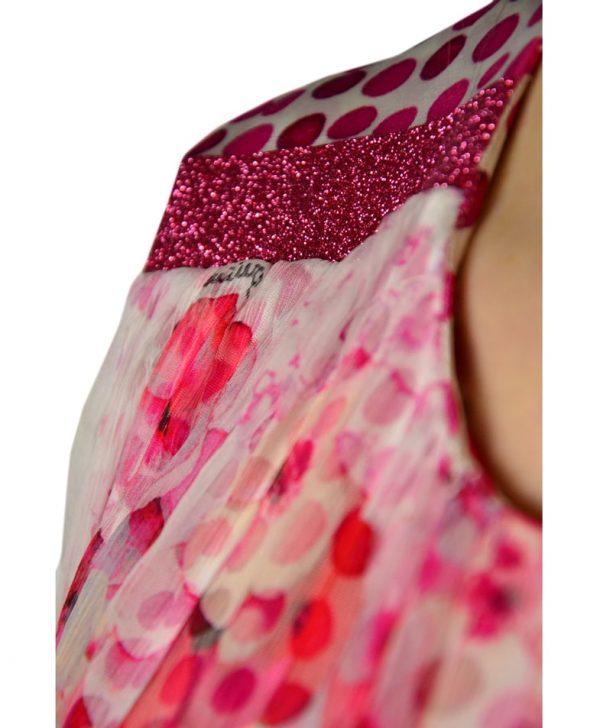 Платье Petite Couture бело-розовое с цветочным принтом