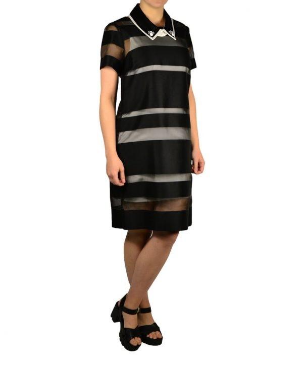 Платье Petite Couture черно-белое в полоску с воротником с камнями