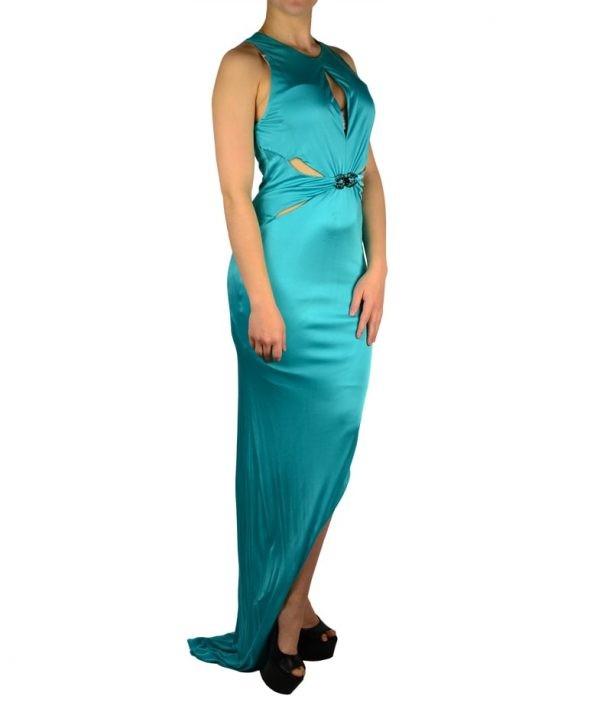 Платье Roberto Cavalli бирюзовое с брошью с камнями