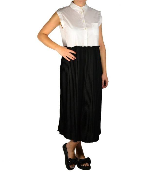 Платье Twin-Set белая рубашка с черной плиссированной юбкой