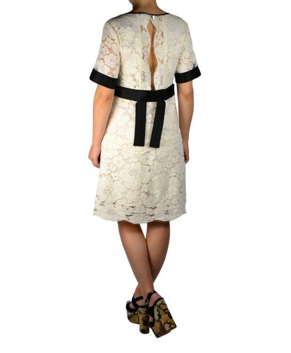 Платье Twin-Set белое кружевное с черной отделкой