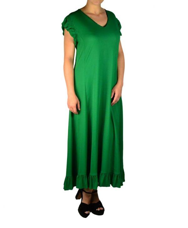 Платье Twin-Set зеленое с рюшами и бантиками на спинке