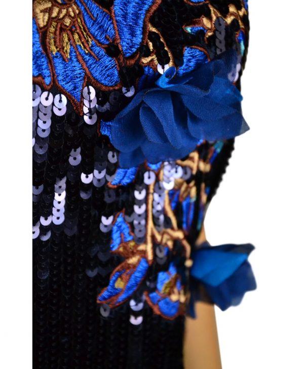 Платье Twin-Set темно-синее с пайетками и вышивкой