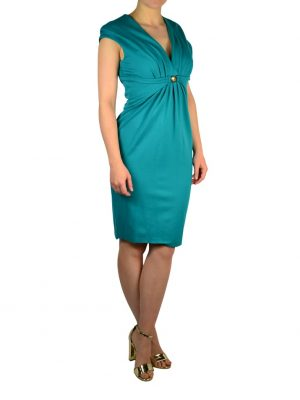 Платье Versace бирюзовое с фирменной брошью