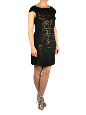 Платье Versace черное с принтом из камней