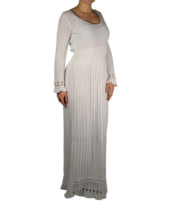 Платье Alberta Ferretti белое вязаное
